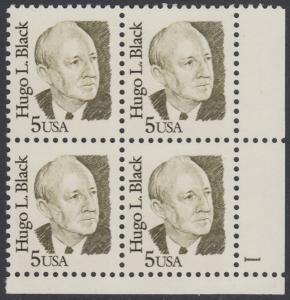 USA Michel 1789 / Scott 2172 postfrisch PLATEBLOCK ECKRAND unten rechts m/ Platten-# 1 - Amerikanische Persönlichkeiten: Hugo L. Black (1886-1971), Richter