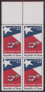 USA Michel 1790 / Scott 2204 postfrisch BLOCK RÄNDER oben (a1) - 150. Jahrestag der Gründung der Republik Texas: Flagge von Texas, Sporen