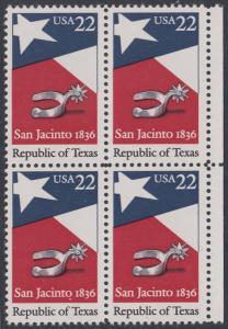 USA Michel 1790 / Scott 2204 postfrisch BLOCK RÄNDER rechts - 150. Jahrestag der Gründung der Republik Texas: Flagge von Texas, Sporen