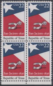 USA Michel 1790 / Scott 2204 postfrisch BLOCK RÄNDER unten - 150. Jahrestag der Gründung der Republik Texas: Flagge von Texas, Sporen