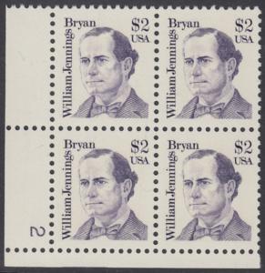 USA Michel 1791 / Scott 2195 postfrisch PLATEBLOCK ECKRAND unten links m/ Platten-# 2 - Amerikanische Persönlichkeiten: William Jennings Bryan (1860-1925), Politiker