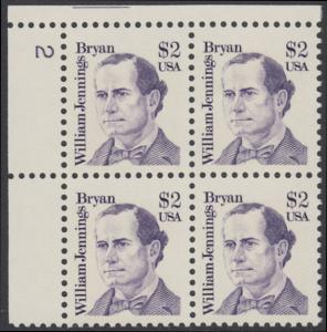 USA Michel 1791 / Scott 2195 postfrisch PLATEBLOCK ECKRAND oben links m/ Platten-# 2 - Amerikanische Persönlichkeiten: William Jennings Bryan (1860-1925), Politiker