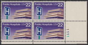 USA Michel 1797 / Scott 2210 postfrisch PLATEBLOCK ECKRAND unten rechts m/ Platten-# A11111 - Öffentliche Krankenhäuser: Krankenhausgebäude