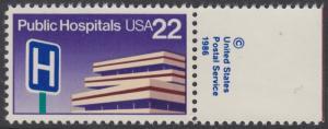 USA Michel 1797 / Scott 2210 postfrisch EINZELMARKE RAND rechts m/ copyright symbol - Öffentliche Krankenhäuser: Krankenhausgebäude