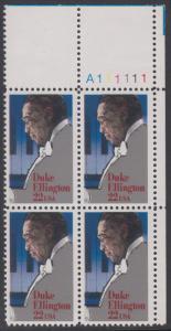 USA Michel 1798 / Scott 2211 postfrisch PLATEBLOCK ECKRAND oben rechts m/ Platten-# A111111 - Duke Ellington: Jazzpianist, -komponist und -kapellmeister