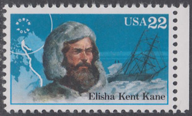 USA Michel 1835 / Scott 2220 postfrisch EINZELMARKE RAND rechts - Nordpolarforscher: Elisha K. Kane 0