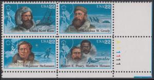 USA Michel 1835-1838 / Scott 2220-2223 postfrisch PLATEBLOCK ECKRAND unten rechts m/ Platten-# A11111 - Nordpolarforscher