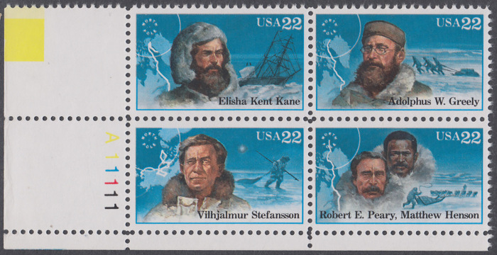 USA Michel 1835-1838 / Scott 2220-2223 postfrisch PLATEBLOCK ECKRAND unten links m/ Platten-# A11111 (b) - Nordpolarforscher 0