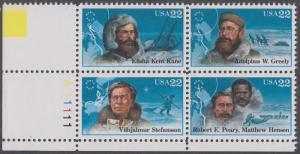 USA Michel 1835-1838 / Scott 2220-2223 postfrisch PLATEBLOCK ECKRAND unten links m/ Platten-# A11111 (b) - Nordpolarforscher
