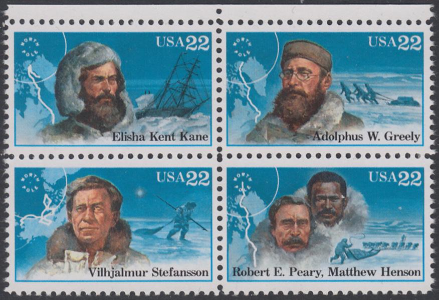 USA Michel 1835-1838 / Scott 2220-2223 postfrisch BLOCK RÄNDER oben - Nordpolarforscher 0