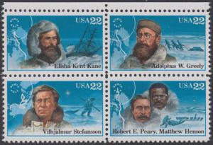 USA Michel 1835-1838 / Scott 2220-2223 postfrisch BLOCK RÄNDER oben - Nordpolarforscher