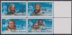 USA Michel 1835-1838 / Scott 2220-2223 postfrisch BLOCK RÄNDER rechts (a1) - Nordpolarforscher