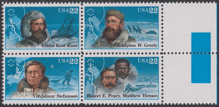 USA Michel 1835-1838 / Scott 2220-2223 postfrisch BLOCK RÄNDER rechts (a2) - Nordpolarforscher 0