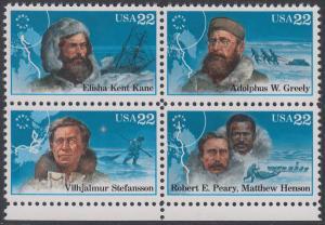 USA Michel 1835-1838 / Scott 2220-2223 postfrisch BLOCK RÄNDER unten - Nordpolarforscher