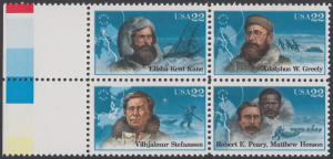 USA Michel 1835-1838 / Scott 2220-2223 postfrisch BLOCK RÄNDER links (a3) - Nordpolarforscher