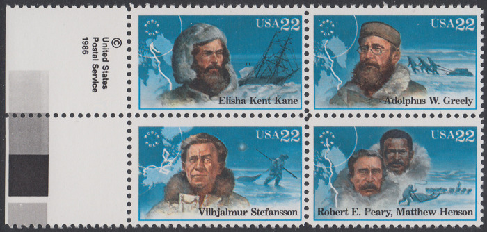 USA Michel 1835-1838 / Scott 2220-2223 postfrisch BLOCK RÄNDER links - Nordpolarforscher 0