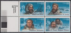 USA Michel 1835-1838 / Scott 2220-2223 postfrisch BLOCK RÄNDER links - Nordpolarforscher