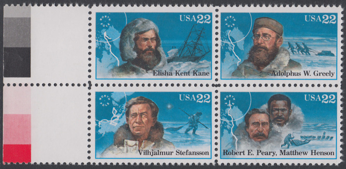 USA Michel 1835-1838 / Scott 2220-2223 postfrisch BLOCK RÄNDER links (a2) - Nordpolarforscher 0