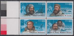 USA Michel 1835-1838 / Scott 2220-2223 postfrisch BLOCK RÄNDER links (a2) - Nordpolarforscher