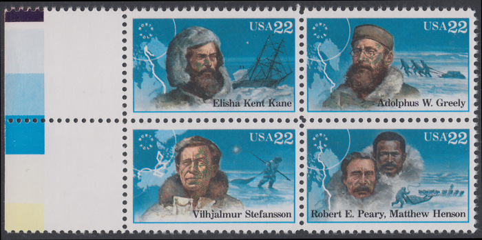 USA Michel 1835-1838 / Scott 2220-2223 postfrisch BLOCK RÄNDER links (a4) - Nordpolarforscher 0