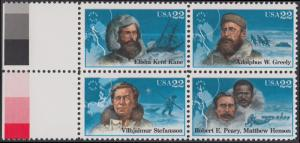 USA Michel 1835-1838 / Scott 2220-2223 postfrisch BLOCK RÄNDER links (a1) - Nordpolarforscher
