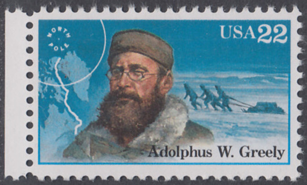 USA Michel 1836 / Scott 2221 postfrisch EINZELMARKE RAND links - Nordpolarforscher: Adolphus W. Greely 0