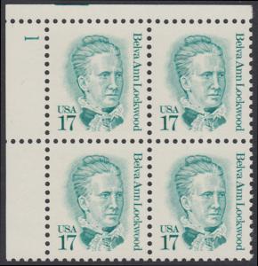 USA Michel 1839 / Scott 2178 postfrisch PLATEBLOCK ECKRAND oben links m/ Platten-# 1 (b) - Amerikanische Persönlichkeiten: Belva Ann Lockwood (1830-1917), Frauenrechtlerin