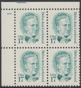 USA Michel 1839 / Scott 2178 postfrisch PLATEBLOCK ECKRAND oben links m/ Platten-# 1 (a) - Amerikanische Persönlichkeiten: Belva Ann Lockwood (1830-1917), Frauenrechtlerin