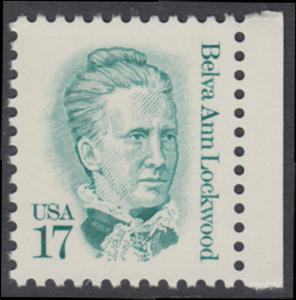 USA Michel 1839 / Scott 2178 postfrisch EINZELMARKE RAND rechts - Amerikanische Persönlichkeiten: Belva Ann Lockwood (1830-1917), Frauenrechtlerin