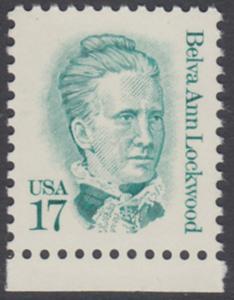 USA Michel 1839 / Scott 2178 postfrisch EINZELMARKE RAND unten - Amerikanische Persönlichkeiten: Belva Ann Lockwood (1830-1917), Frauenrechtlerin
