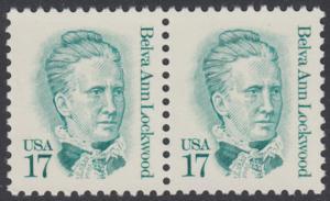 USA Michel 1839 / Scott 2178 postfrisch horiz.PAAR - Amerikanische Persönlichkeiten: Belva Ann Lockwood (1830-1917), Frauenrechtlerin