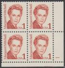 USA Michel 1840 / Scott 2168 postfrisch PLATEBLOCK ECKRAND unten links m/ Platten-# 1 - Amerikanische Persönlichkeiten: Margaret Mitchell (1900-1949), Schriftstellerin