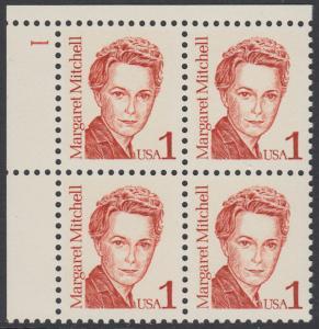 USA Michel 1840 / Scott 2168 postfrisch PLATEBLOCK ECKRAND oben links m/ Platten-# 1 - Amerikanische Persönlichkeiten: Margaret Mitchell (1900-1949), Schriftstellerin