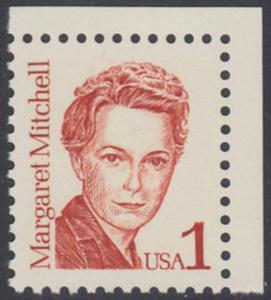 USA Michel 1840 / Scott 2168 postfrisch EINZELMARKE ECKRAND oben rechts - Amerikanische Persönlichkeiten: Margaret Mitchell (1900-1949), Schriftstellerin
