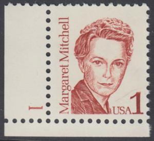 USA Michel 1840 / Scott 2168 postfrisch EINZELMARKE ECKRAND unten links m/ Platten-# 1 - Amerikanische Persönlichkeiten: Margaret Mitchell (1900-1949), Schriftstellerin