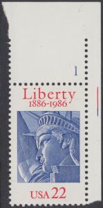 USA Michel 1841 / Scott 2224 postfrisch EINZELMARKE ECKRAND oben rechts m/ Platten-# 1 - 100 Jahre Freiheitsstatue, New York