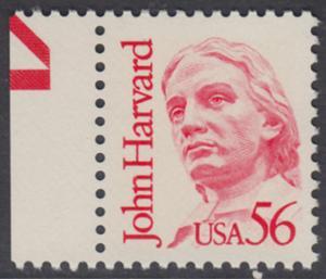 USA Michel 1844 / Scott 2190 postfrisch EINZELMARKE RAND links (a2) - Amerikanische Persönlichkeiten: John Harvard (1607-1638), Theologe
