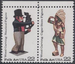 USA Michel 1854+1855 / Scott 2242+2243 postfrisch horiz.PAAR RÄNDER oben - Amerikanische Volkskunst: Geschnitzte Holzfiguren