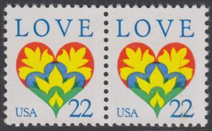USA Michel 1864 / Scott 2248 postfrisch horiz.PAAR - Grußmarke: Herz