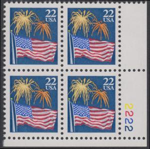 USA Michel 1882A / Scott 2276 postfrisch PLATEBLOCK ECKRAND unten rechts m/ Platten-# 2222 - Flagge und Feuerwerk