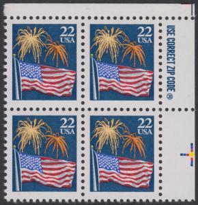 USA Michel 1882A / Scott 2276 postfrisch ZIP-BLOCK (ur) - Flagge und Feuerwerk