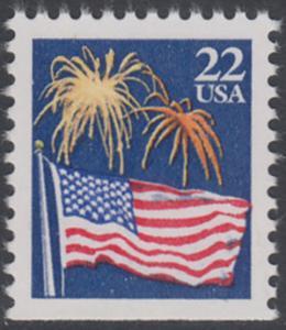 USA Michel 1882D / Scott 2276a postfrisch EINZELMARKE (unten ungezähnt) - Flagge und Feuerwerk