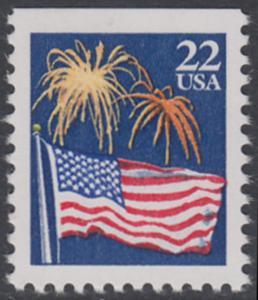USA Michel 1882D / Scott 2276a postfrisch EINZELMARKE (oben ungezähnt) - Flagge und Feuerwerk