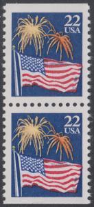 USA Michel 1882D / Scott 2276a postfrisch vert.PAAR - Flagge und Feuerwerk