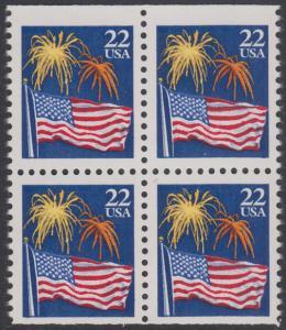 USA Michel 1882D / Scott 2276a postfrisch BLOCK - Flagge und Feuerwerk