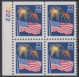 USA Michel 1882D / Scott 2276a postfrisch BLOCK Ränder links m/ Platten-# 2222 - Flagge und Feuerwerk