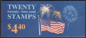USA Michel 1882D / Scott 2276a postfrisch Markenheftchen(20) - Flagge und Feuerwerk