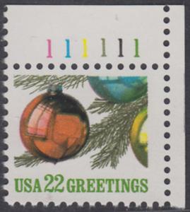 USA Michel 1958 / Scott 2368 postfrisch EINZELMARKE ECKRAND oben rechts m/ Platten-# 111111 - Weihnachten: Christbaumkugeln