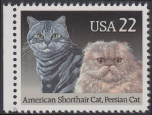 USA Michel 1968 / Scott 2375 postfrisch EINZELMARKE RAND links - Katzenrassen