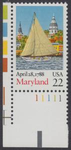 USA Michel 1970 / Scott 2342 postfrisch EINZELMARKE ECKRAND unten links m/ Platten-# 11111 - 200. Jahrestag der Ratifizierung der Verfassung durch den Staat Maryland: Segelboot Clarence Crocket vor Annapolis